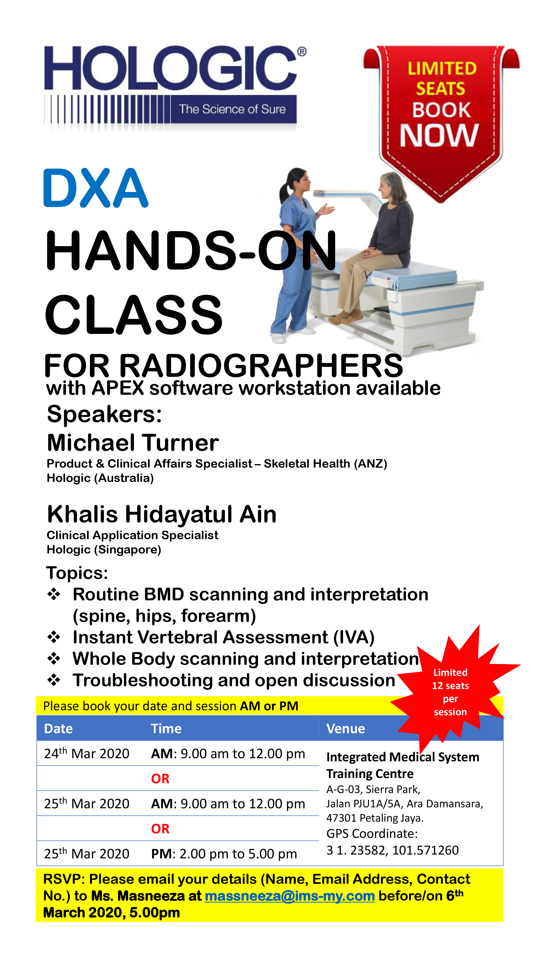 DXA HANDS-ON CLASS FOR RADIOGRAPHERS