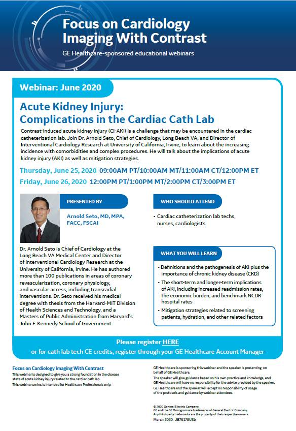Webinar 1: Acute Kidney Injury: Complications in the Cardiac Cath Lab